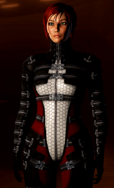 Black Red White Asari Commando Armor - Retex of FokSiGen's