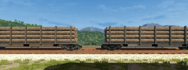 The Original Log Flatbed (Left) vs the Retextured Log Flatbed (Right)