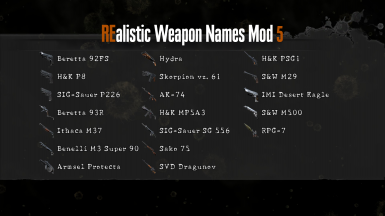 REalistic Weapon Names Mod 5