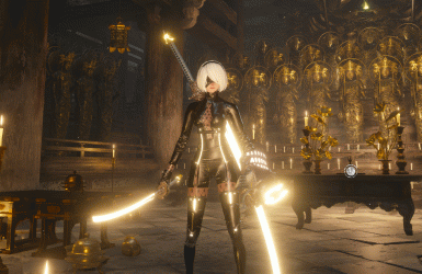 2b in leather tights (character weapon voice)