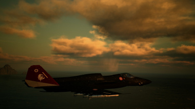 An Alicorn Squadron Shinden flying over the Spring Sea