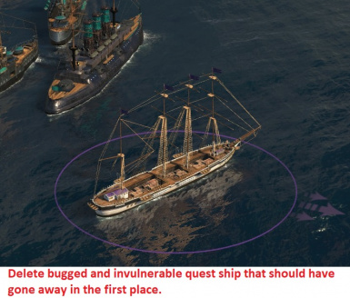 Take control of enemy ship for bugged quests
