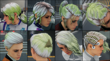 Pure Pea Green on white hair
