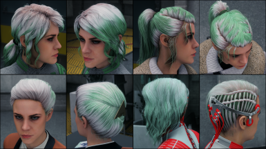 Pure Yellow Green on white hair