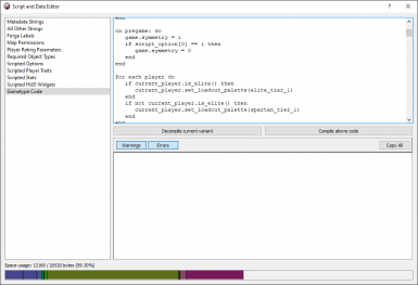The script editor introduced in version 2, showing Assault's decompiled code