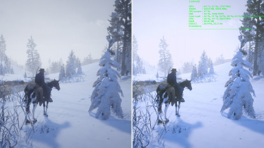 Very Bright Snow Scene: Vanilla (Left) vs Reshade ON (Right)