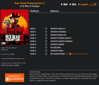 Red Dead Redemption 2 Trainer 1.0.1