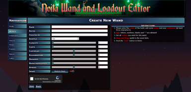 Noita Wand- and Loadout Editor