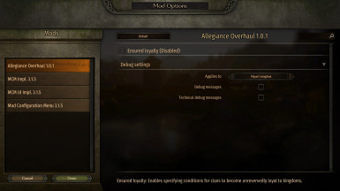 Mod options overview