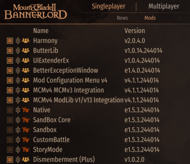 Mod Order / Requirements