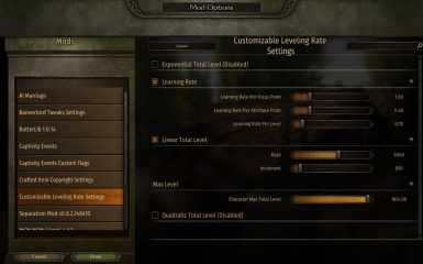 Customizable Leveling Rate