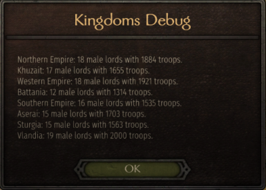 After starting a new game, these are the male lords for each kingdom. You may want to allow Battania female leaders. Ctrl+Z to view.