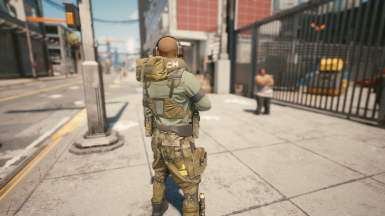 Heavy Tac Vest. Raised Back Pouch Front Radio (Pistol Mag Not Shown)