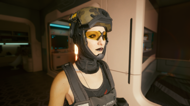 Open Mask and Glasses female (with optional light helmet)