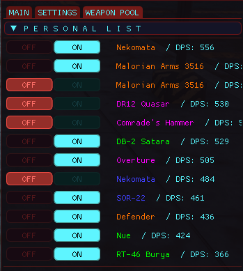 0.3 Personal Weapon Pool toggles (working on leaking text. UI wont reset for some reason)