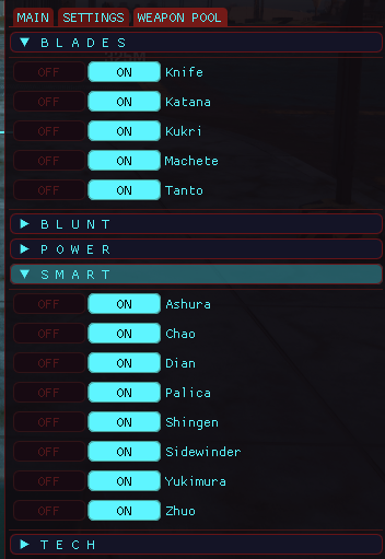 0.3 Weapon Pool toggles