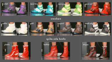 Colors: Sneakers, Spike Sole Boots