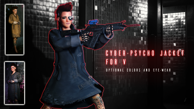 CyberPsycho Jacket for V(3 Variants) with Optional Eye-Wear