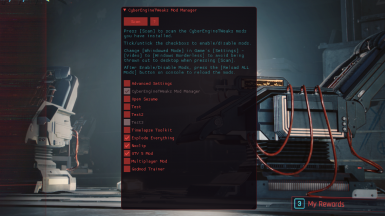 CyberEngineTweaks In-game Mod Manager ( dofile script launcher)