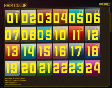 Each number corresponds to a swatch in the game. Drop ONE .archive that corresponds with your character's default color.