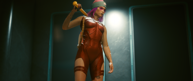 With Outer Torso clothing (Padhiver's backpack), FIGHT LIKE A GIRL disappears (if you're wearing regular netrunning suit; wear the iconic netrunning suit to prevent this).