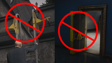 No Yellow Braces On Shortcut Ladders and Doors
