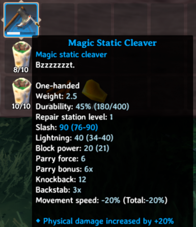 Magic Static Cleaver (EpicLoot mod required)