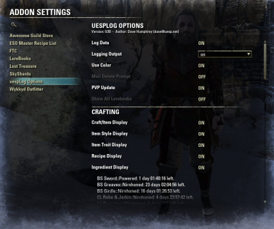 Options Menu Display