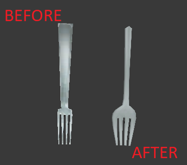 Fork replacer, in game it's applied a shine effect that make it better