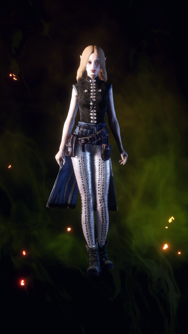 EF Mashup Outfit (With numerous crafting material mods like enhanced tannery, Iridescent metals, and different cloth replacers )