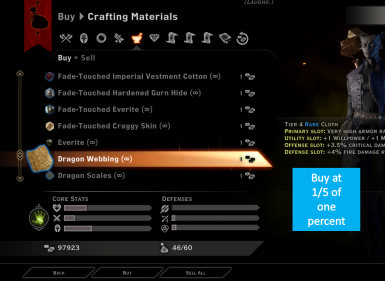 Dragon Age Inquisition Crafting Materials Shop