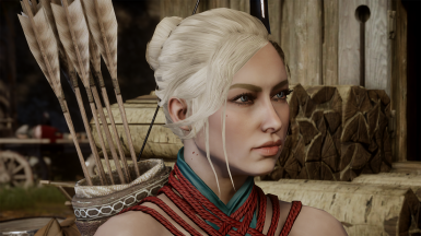 Bun - sideswept bangs for Human Dwarf and Elf female.