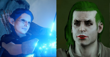 Blue-haired elf and Joker wannabe