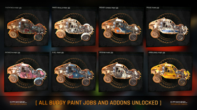 All Buggy Paint Jobs and Addons Auto Unlocked