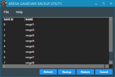 Arena Gamesave Backup Utility