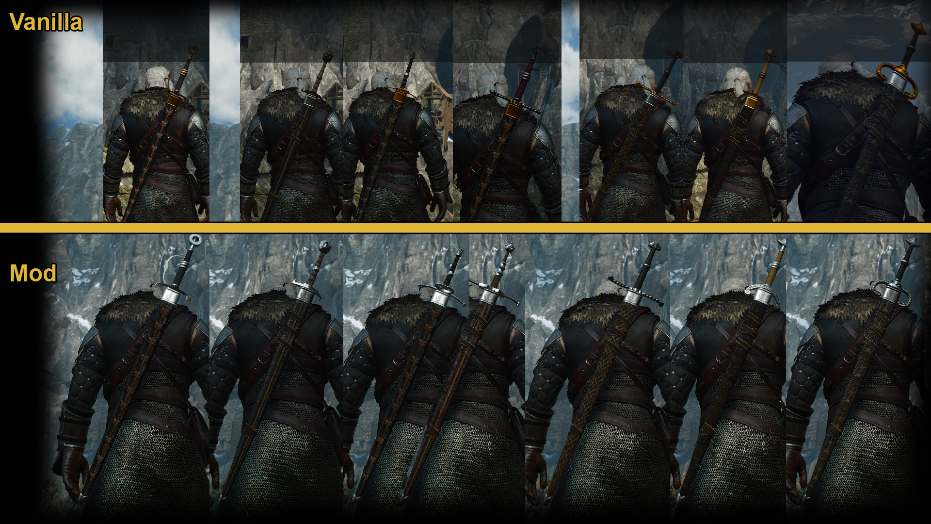 No gold details on relic swords at The Witcher 3 Nexus - Mods and community