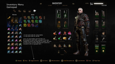 Inventory Menu - Gamepad