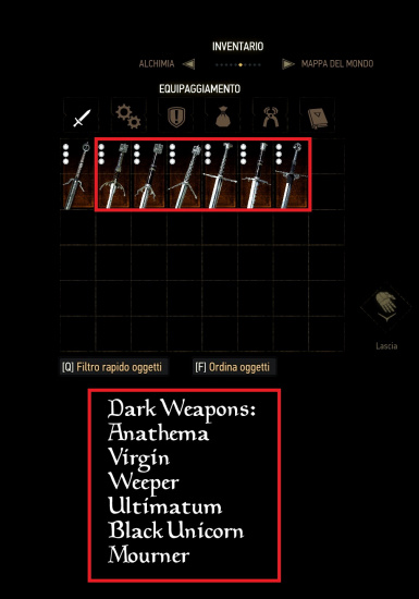 Icons and Scabbard for Dark Weapons