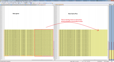 Base game vs new game plus decoction effects xml file