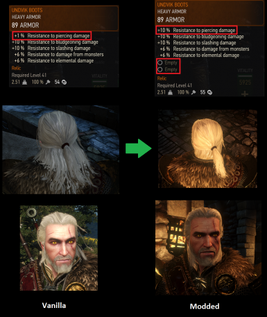 Temerian Nilfgaardian and Undvik DLC Armor stats hair pants and glyph slots fixes