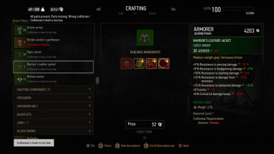 Crafting Witcher and Relic Gear requires Master Craftsmen at The