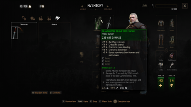 Gear Levels Hidden and No Level Requirements