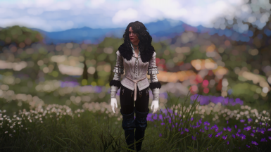 Yennefer White Recolor For Upper Body (Vanilla Outfit)