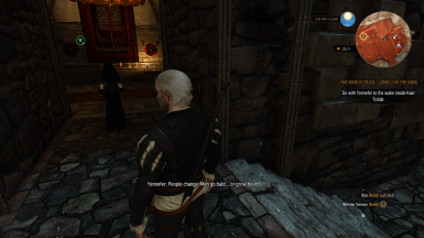 Yennefer's remark about Geralt's beard (The king is dead - long live the king) fix