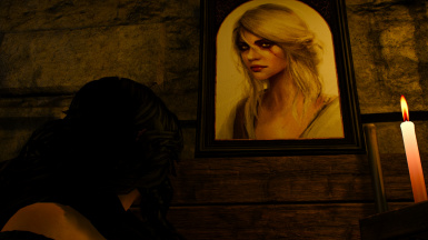 Yen looking at the Avallac'h Portrait during the destruction of the lab