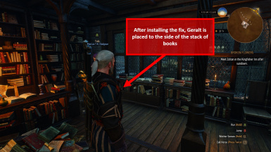 Fix - Geralt is placed to the side of the books rather than on top of them