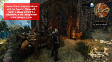 Fixed - Geralt is Placed in the Same Position with the Oxenfurt Blacksmith as the Dialogue
