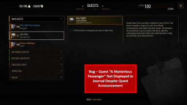 Bug - Quest not displayed in journal