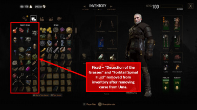 Ugly Baby and Va Fail, Elaine - items removed from inventory after lifting the curse