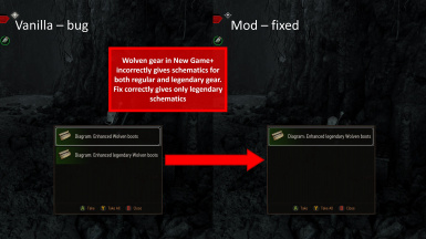 Wolven Gear NG+ Schematic Fix